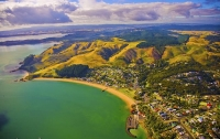 Aerial;Hauraki_Gulf;Maraetai;bush;native_forrest;beaches;mud_flats;paddocks;gold