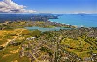 Aerial;Orewa;Silverdale;Rodney;golden_sands;blue_sky;blue_sea;cumulus_clouds;sub