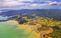 Aerial;Coromandel;sandy_beaches;sand_dunes;bachs;holiday_homes;blue_sky;blue_sea