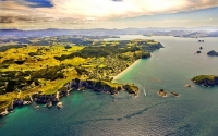 aerial;Hahei;sandy_beaches;bachs;holiday_homes;blue_sky;blue_sea;bush;native_for