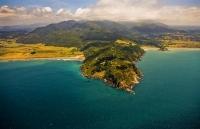 aerial;Haupara_Pt;Hicks_Bay;blue_sea;blue_sky;sandy_beaches;sea;sea_fishing;harb