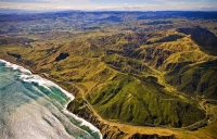 Aerial;Hawkes_Bay_Coast;bush;native_forrest;golden_sands;bluffs;River;cliffs;san