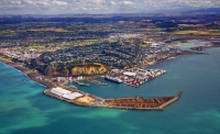 Aerial;Napier;Hawkes_Bay;suburburban;Gardens;Art_Deco;port;containers;logs;sculp