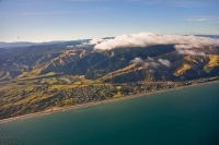 Aerial;Paekakariki;Kapiti_Coast;Cook_Strait;native_forest;Blue_sky;blue_sea;tram