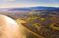 Aerial;Pararaumu;Kapiti_Coast;Waikanae_River;Cook_Strait;native_forest;Blue_sky;