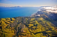 Aerial;Pukerau_Bay;Kapiti_Coast;Blue_sky;tramping_tracks;Fishing;boating;New_Zea