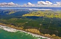 Aerial_Kaipara_Harbour;Rodney;green_fields;paddocks;Tasman_Sea;blue_sky;blue_sea