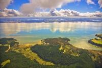 Aerial;Kaipara_Harbour;Rodney;green_fields;paddocks;Tasman_Sea;blue_sky;blue_sea