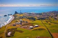 Aerial;New_Plymouth;Taranaki;tank_farm;sugar_loaf_islands;blue_sea;blue_sky;harb