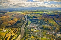 Aerial;Waipawa;Tararua;church;green_fields;paddocks;Waipawa_River;river;palms;pa