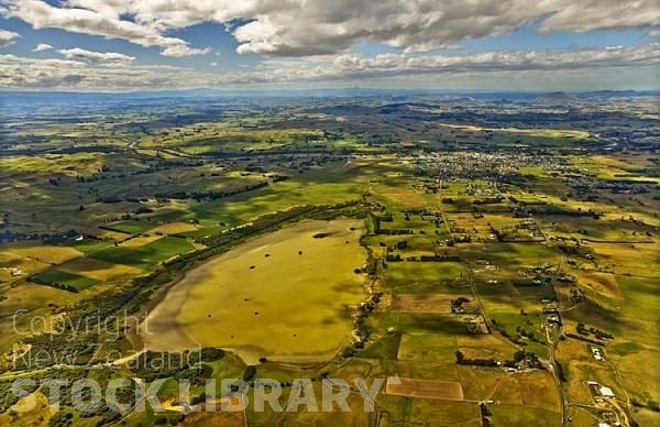Waipukurau New Zealand  City new picture : Aerial;Waipukurau;Tararua;church;green fields;paddocks;lake;Hatuma ...