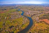 Aerial;Ngaruawahia;Waikato_River;suburburban;bridge;green_fields;River;bridge;Ma