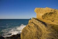 Castle_Point;Wairarapa;Blue_sea;blue_sky;cumulus_clouds;rocky_shorelines;sandy_b