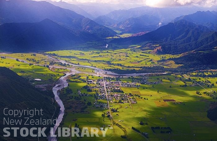 Murchison New Zealand  City new picture : Aerial;Murchison;Buller Region;mountains;hills;rivers;Road;bush;native ...