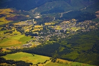 Aerial;Hanmer_Springs;green_fields;paddocks;brown_hills;hills;mountains;blue_sky