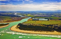 Aerial;Kaiapoi;Canterbury;Kaiapoi_River;boating;golden_sands;Pacific_Ocean;Waima