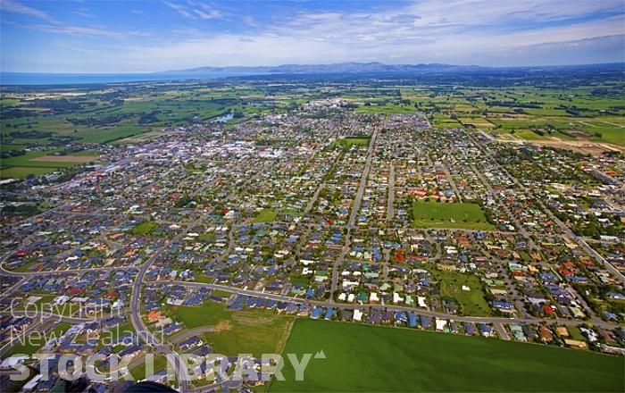 Rangiora New Zealand  city pictures gallery : Aerial;Rangiora;Canterbury;Canterbury Plain;green fields;paddocks ...