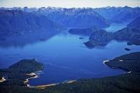 Aerial;Lake_Manapouri;Fiordland;mountains;hills;rivers;Road;State_Highway_95;bus