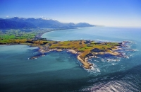 Aerial;Kaikoura;Kaikoura_Peninsula;seaward_Kaikoura_Range;green_fields;paddocks;