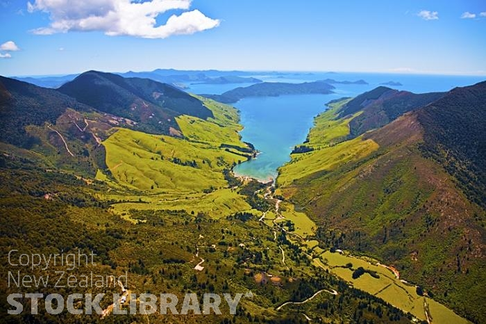 Aerial;Marlborough Sounds;Marlborough;bush;native forrest;hills;mountains;Anakoha Bay