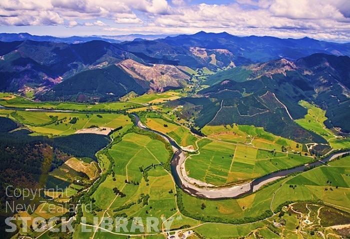 Aerial Rai Valley Pelorus River Marlborough Canvastown And Trout Hotel