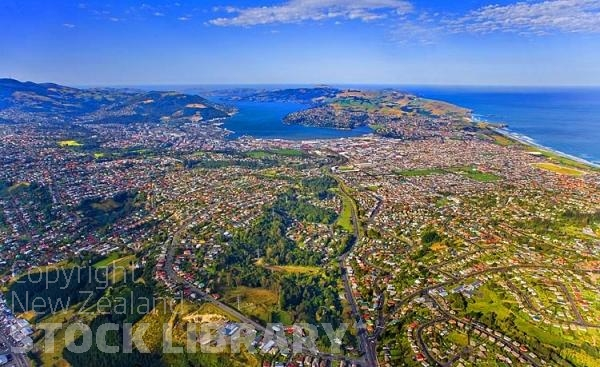 Aerial;Dunedin;Otago Peninsula;Otago;university city;university;harbour;golden sands;gothic buildings;Heritage Museum;law courts;Station;Train Station