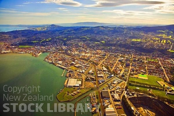 Aerial;Dunedin;Otago Peninsula;Otago;university city;university;harbour;golden sands;gothic buildings;Heritage Museum;law courts;Station;Train Station;Dunedin;City;Harbour