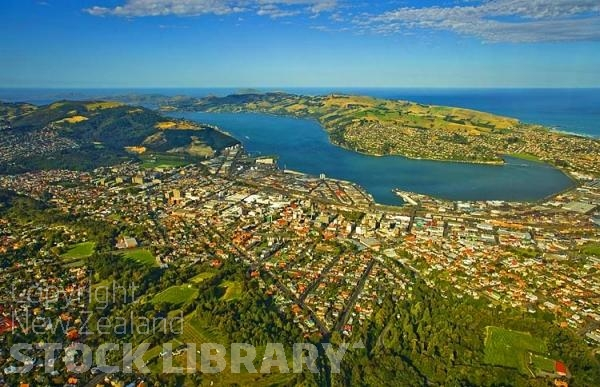 Aerial;Dunedin;Otago Peninsula;Otago;university city;university;harbour;golden sands;gothic buildings;Heritage Museum;law courts;Station;Train Station;Otago Harbour