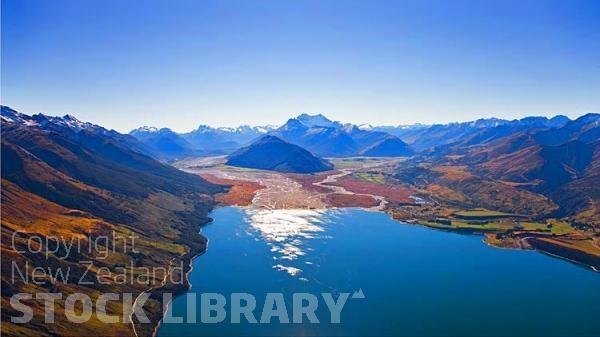 Aerial;Lake Wakatipu;Otago;Glenorchy;lake Wakatipu;Rees River;Rees Valley;Dart River;Mt Alfred
