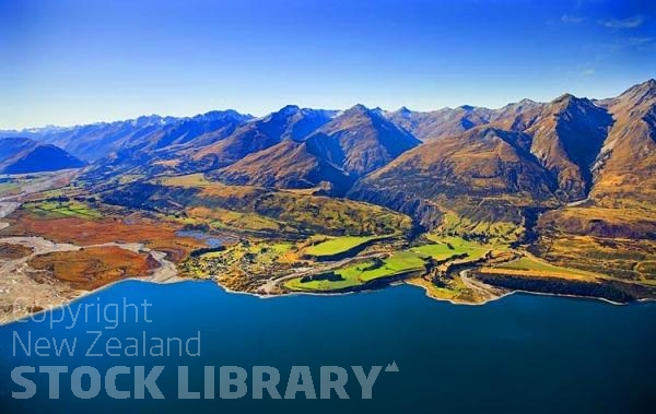 Aerial;Lake Wakatipu;Otago;Glenorchy;Rees River;Rees Valley;airfield;Blanket Bay