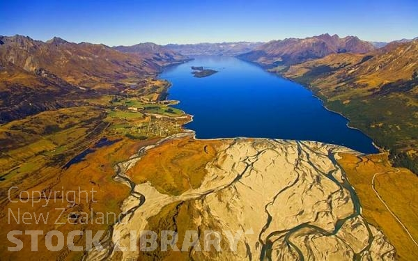 Aerial;Lake Wakatipu;Otago;autumn colour;fall colors;Glenorchy;Rees River;Blanket Bay;airfield;Pigeon Island