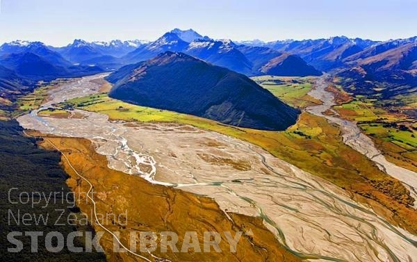 Aerial;Lake Wakatipu;Otago;autumn colour;fall colors;Glenorchy;Rees River;Mount Alfred;Dart River;Rees Valley