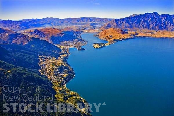 Aerial;Queenstown;Lake Wakatipu;Otago;autumn colour;fall colors;Aerial;The Remarkables
