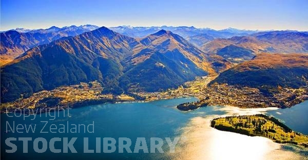 Aerial;Queenstown;Lake Wakatipu;Otago;autumn colour;fall colors;Aerial