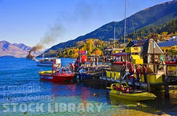 Queenstown;Lake Wakatipu;Otago;autumn colour;fall colors;Jet Boat;jetty;SS Earnslaw;Walter Peak