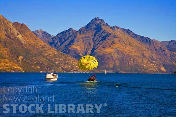Queenstown;Lake Wakatipu;Otago;autumn colour;fall colors;Parascending on the lake