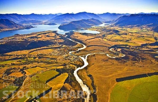Aerial;Wanaka;Otago;lake Wanaka;Clutha River;Hawea River;Iron Mountain;airport;Cardrona;Roys peninsula