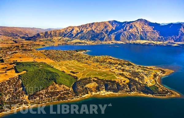 Aerial;Wanaka;Otago;lake Wanaka;Clutha River;Hawea River;Iron Mountain;airport;Cardrona;Roys peninsula;Beacon Pt