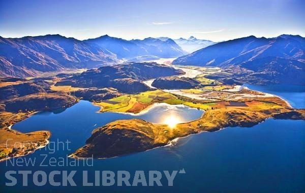 Aerial;Wanaka;Otago;lake Wanaka;Clutha River;Hawea River;Iron Mountain;airport;Cardrona;Roys peninsula;Mt Aspiring