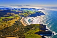 Aerial;The_Catlins;Southland;hills;rivers;Road;bush;native_forrest;green_fields;